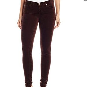 AG DENIM BROWN VELVET SUPER SKINNY LEGGING